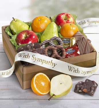 With Sincere Sympathy Fruit  Sweets Box