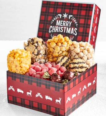 The Popcorn Factory Happy Holidays Plaid Sampler