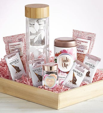 Valentine Glass Tea Infuser with Treats Gift Crate