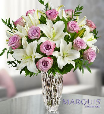 Marquis by Waterford Purple Rose  Lily Bouquet