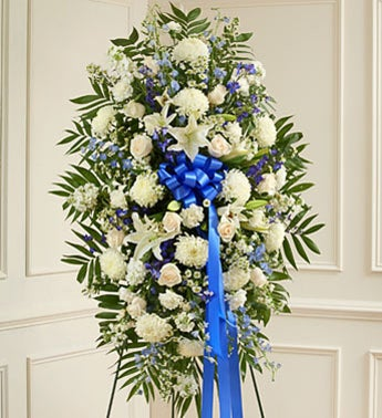 Deepest Sympathies Blue  White Standing Spray
