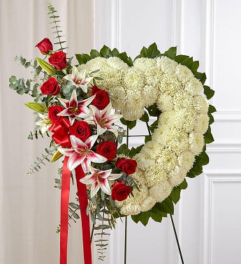 Always Remember Floral Heart Tribute - Red Rose  Lily