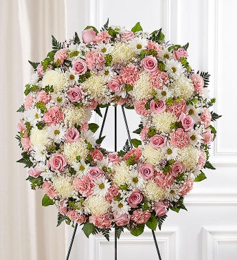 Serene Blessings Standing Wreath- Pink  White