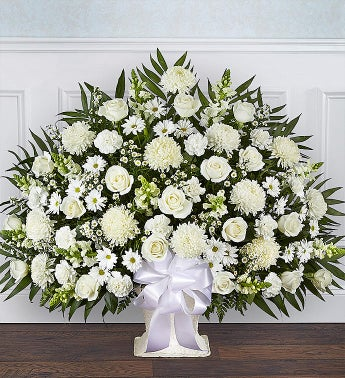 Heartfelt Tribute Floor Basket- White