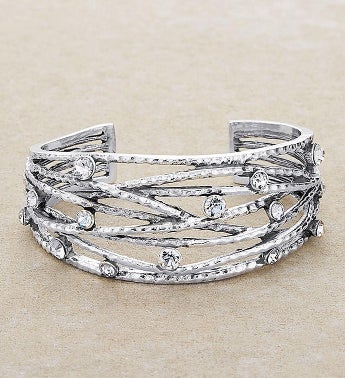 Silver Wire Cuff Bracelet With Crystals by Bayberry Road