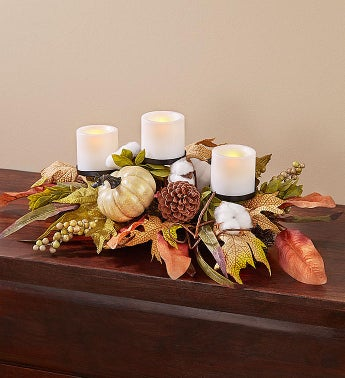 Shades of Autumn Pumpkin Centerpiece  Wreath-24