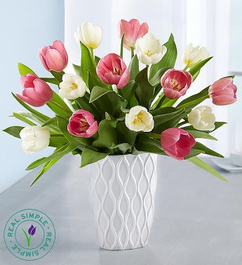 Pink  White Tulips by Real Simple