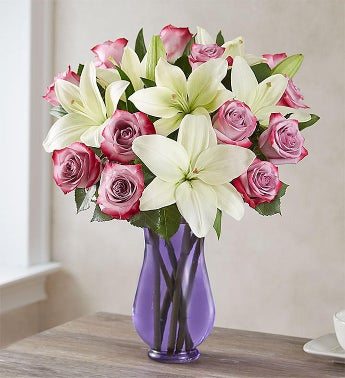 Fair Trade Certified Purple Rose  White Lily