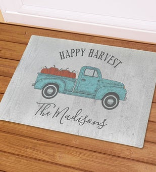 Happy Harvest Truck Personalized Doormat