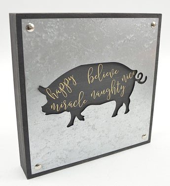 Galvanized Pig Decor