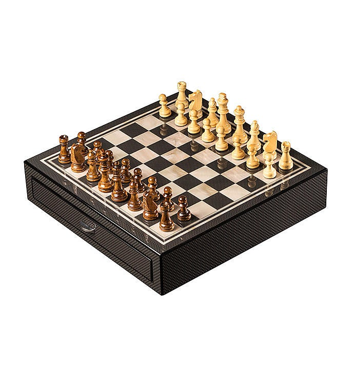 Carbon Fiber  Mother Of Pearl Chess Set