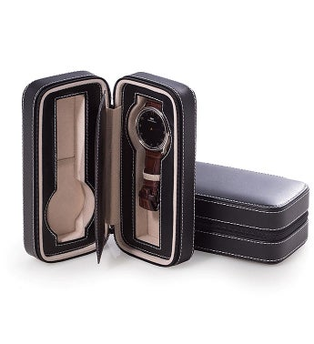 Black Leather Watch Travel Case