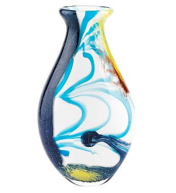 Blue Art Glass Vase