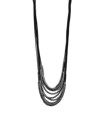 Gunmetal Layered Bead Magnetic Necklace
