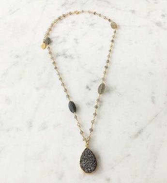 Druzy Drop Necklace