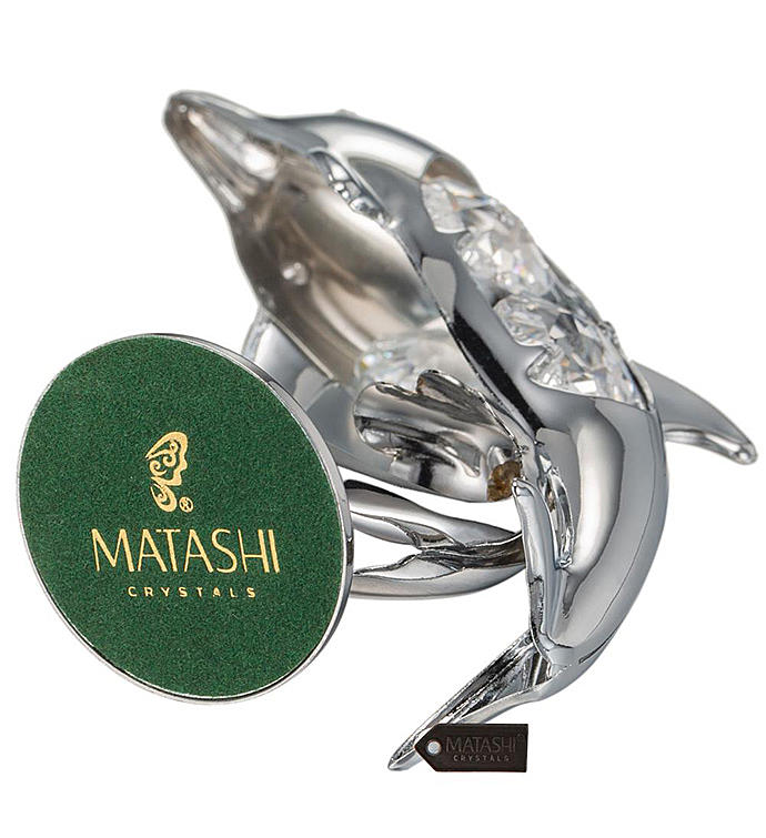 Chrome Plated Crystal Dolphin Riding Wave Figurine