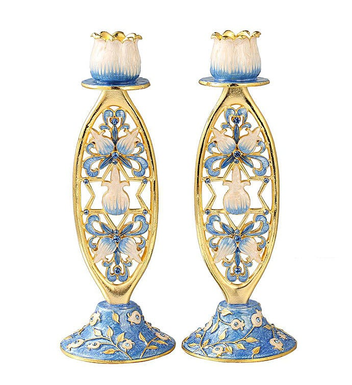 Hand-Painted Shabbat Candlesticks