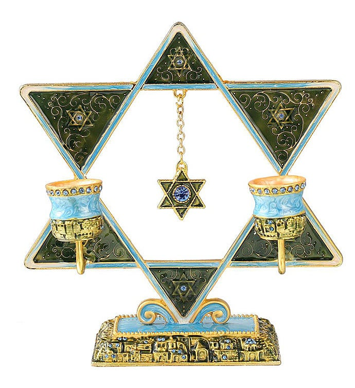 Dual Oil Candle Holders Star of David