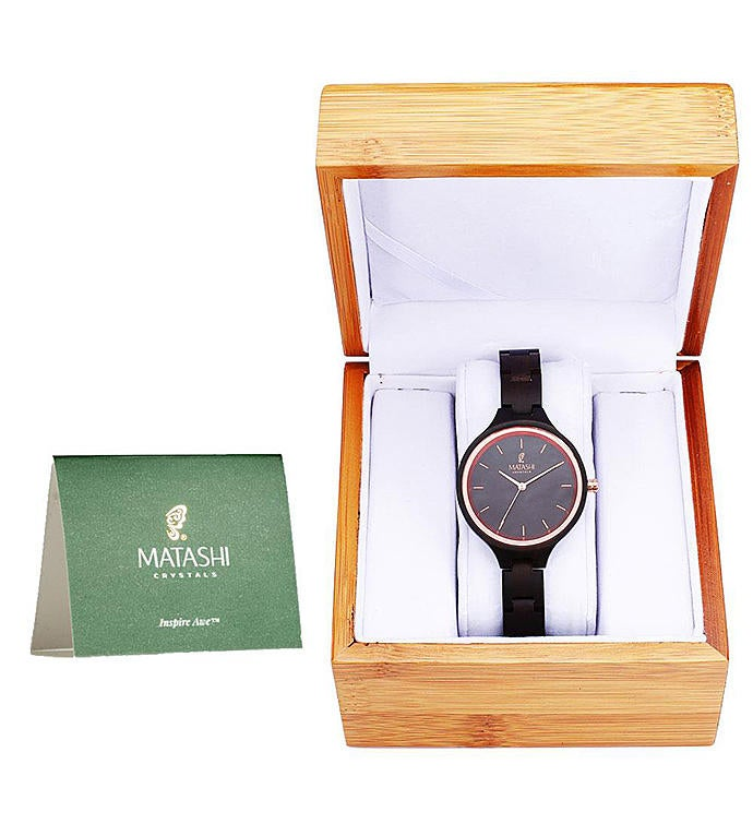 Wooden Water Resistant Watch Salwood Bezel  Band