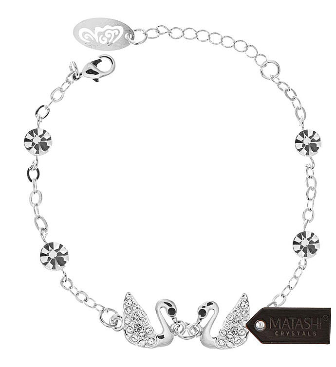 Rhodium Plated Loving Swans Design Bracelet