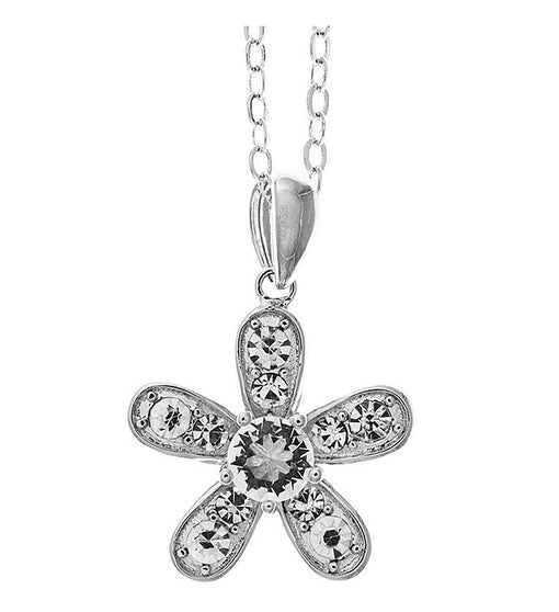 Flower Shape Crystal Pendant- Rhodium Plated Chain