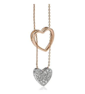 Rose  White Gold-Plated Heart Necklace