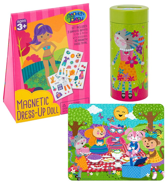Tin Bank with Puzzle and Magnetic Dress-Up Dolls