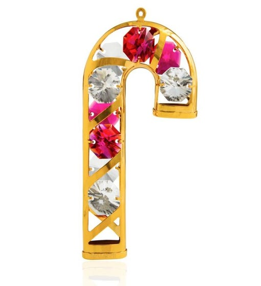Gold Plated Crystal Candy Cane Ornament