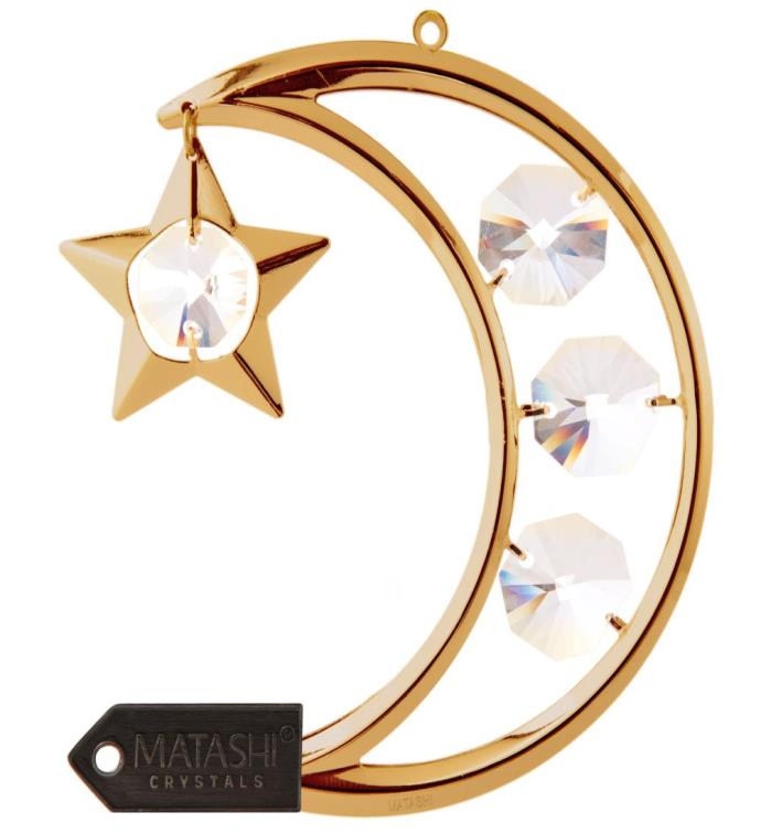 Gold Plated Crystal Crescent Moon Ornament