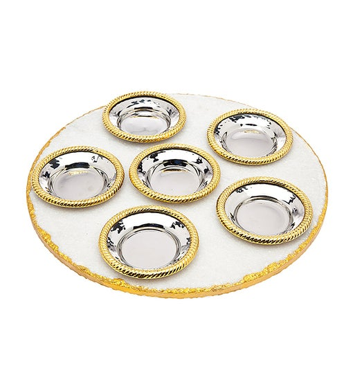 White Marble / Gold Seder Plate