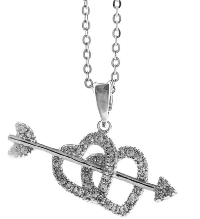 Necklace with Cupids Arrow Double Heart Design