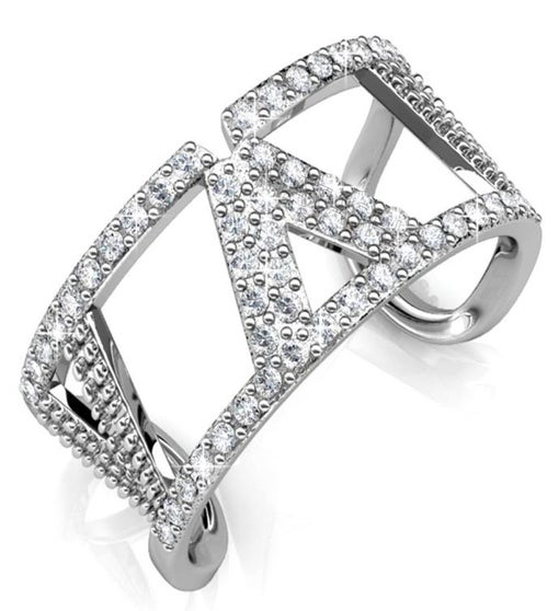 Open Back V Ring with Clear Sparkling Crystals