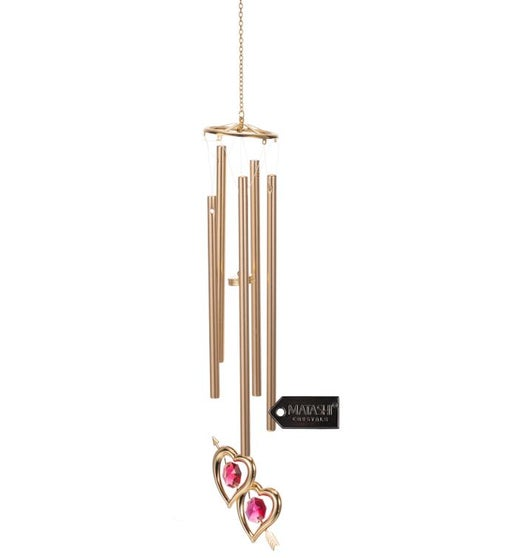 Crystal Studded Double Heart With Arrow Wind Chime