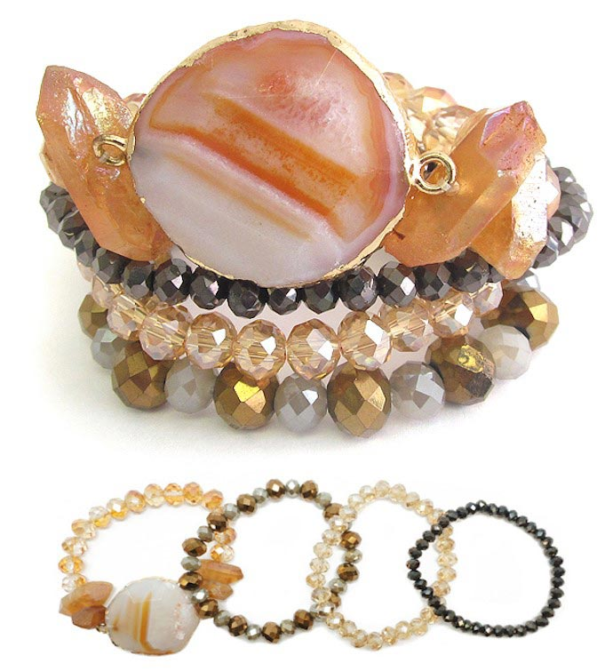 Set of 4 Semi Precious Stretch Bracelets