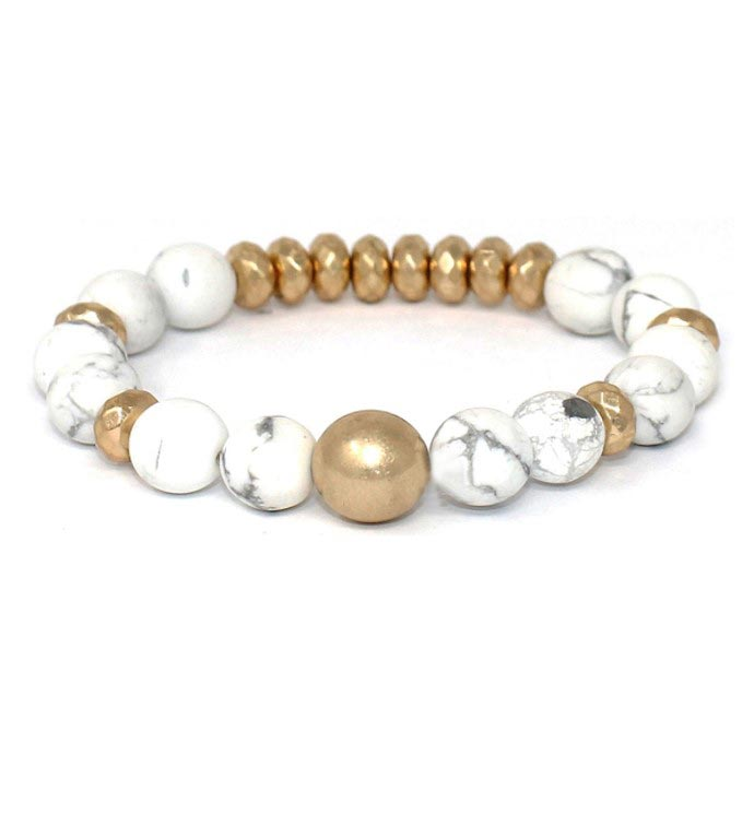 Multi Ball Stone Stretch Bracelet