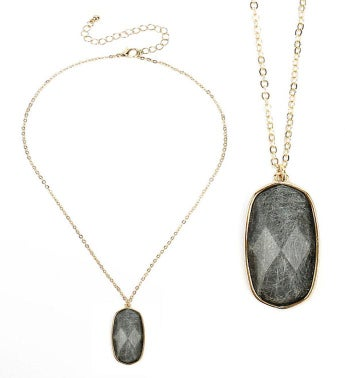 Gold Facet Gray Quartz Stone Pendant Necklace
