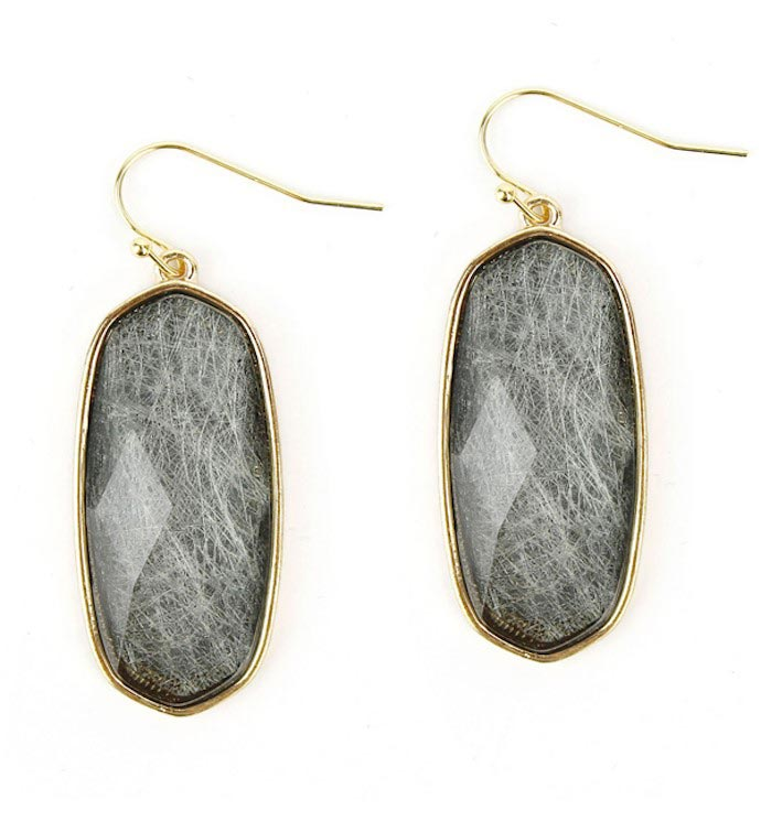 Facet Gray Quartz Stone Earrings