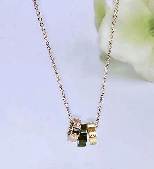 Rose Gold Necklace with Tricolor Rings