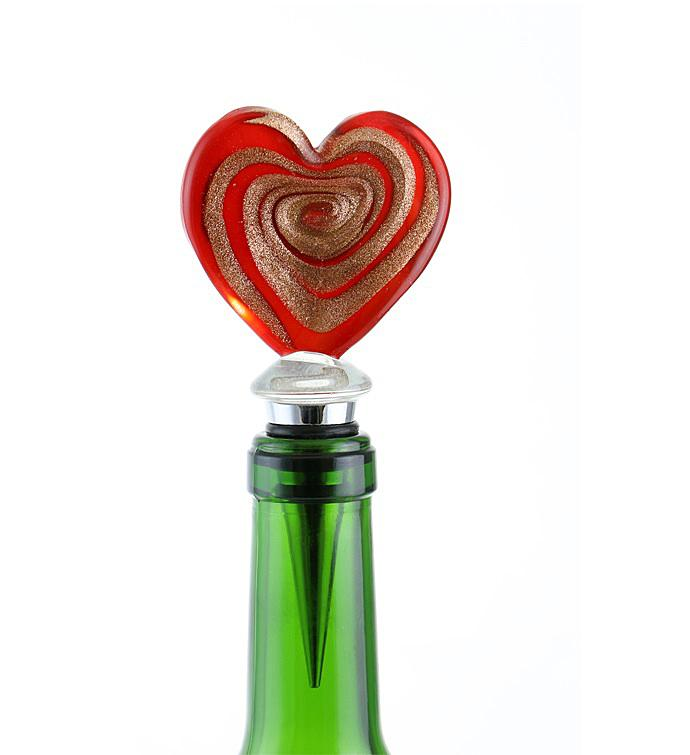 Red  Gold Heart Bottle Stopper