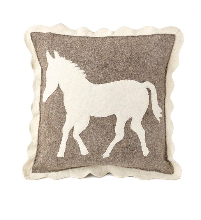 Handmade Cushion Coverl - Horse on Gray