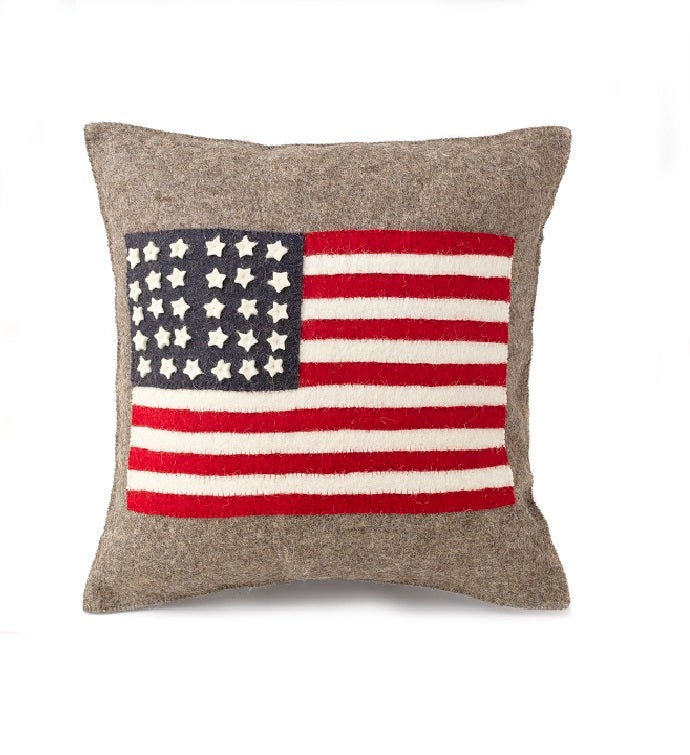 Handmade Cushion Cover in Hand Felted Wool - American Flag on Gray - 2034