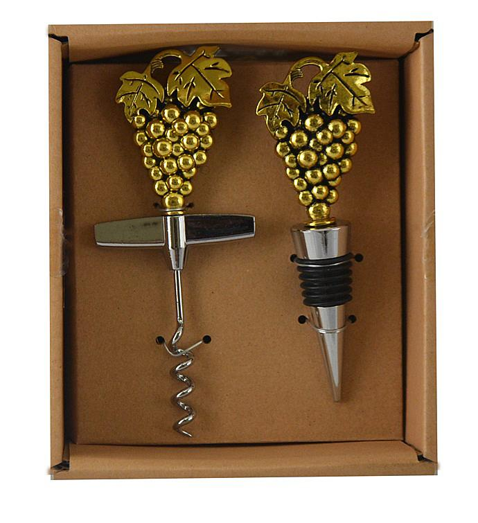 Cork Opener  Stopper Set Grapes