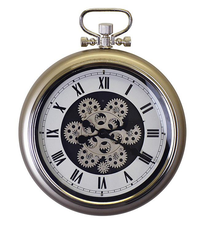 Champagne Pocket Style Wall Clock With Moving Gears