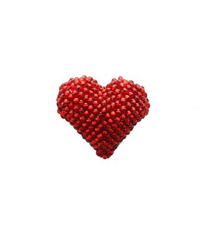 Beaded Heart Pin - Red