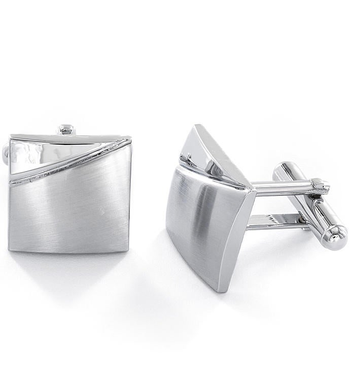 Brushed  High Polished Stainless Steel Cufflinks