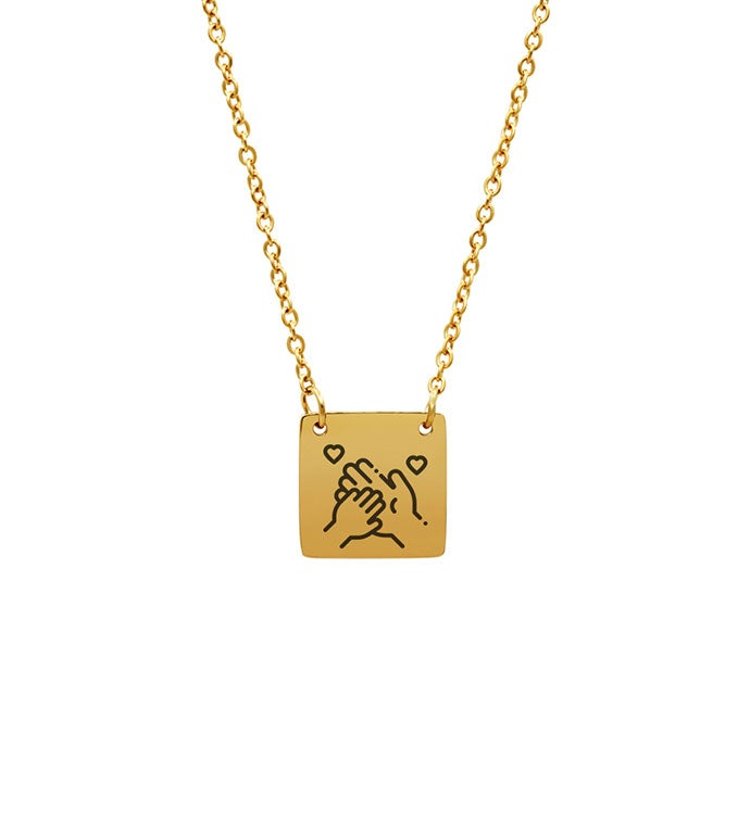 Mom Hold M Hand Pendant Necklace