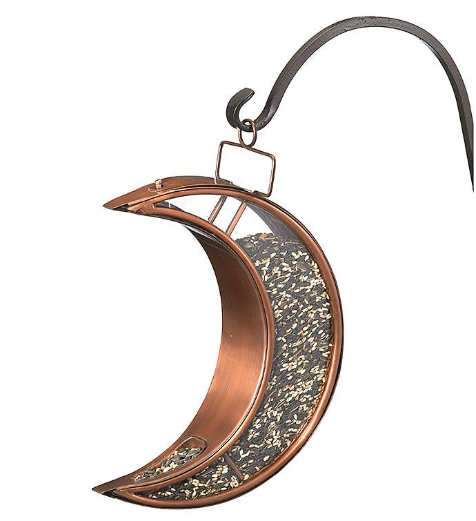 Crescent Moon Bird Feeder - Copper Finish