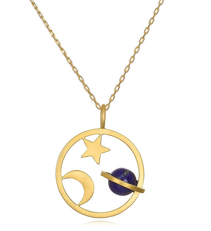 Lapis Gold Saturn Moon  Star Pendant Necklace 30-inch