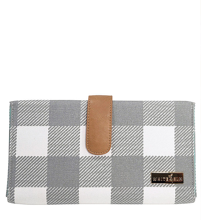 White Elm Juno Diaper Clutch In Gray Buffalo Plaid