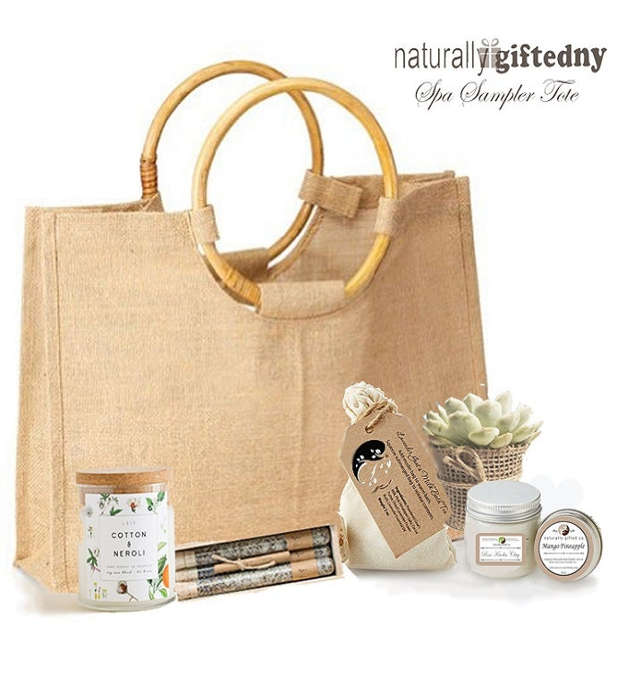 Burlap Tote Bag With Spa Gifts